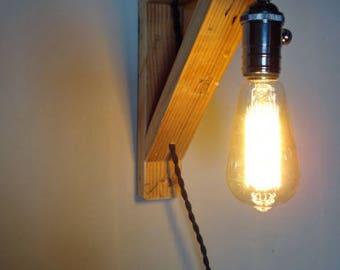"""Applique murale intérieure vintage """"équerre"""" avec ampoule Edison à filament"""