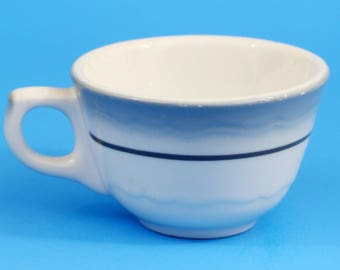 Wallace China Vintage Cup, White with Blue-Gray Airbrush, Black, Restaurant Ware