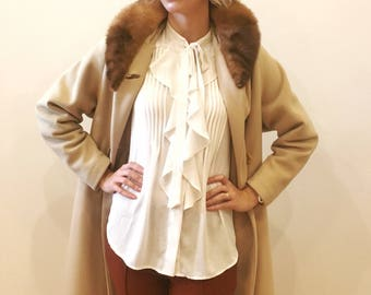 Vintage 1960s Golden Russell Tan Winter Coat with Mink Collar