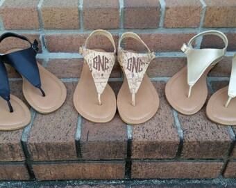 SALE - Monogrammed T-strap Sandal