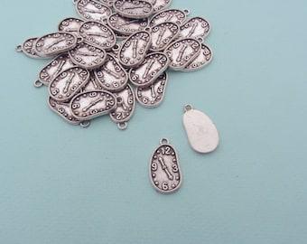Set of 30 silver charms clock - Time charm - Alice in Wonderland White rabbit charm - Dali charm - Clock pendant - Steampunk charm