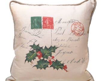 Vintage French Postcard Linen Pillow