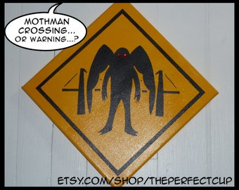 Mothman Crossing Sign - hand painted canvas painting xing american cryptid cryptozoology cryptozoologist Point Pleasant West Virginia