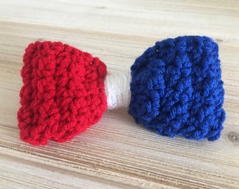 Red, white, & blue hair bow with attached ponytail elastic!