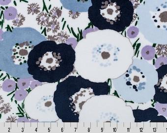 Blossom Cuddle Bluebell - Shannon Fabrics Minky Cuddle Full Yard Fabric Fat Half Yardage
