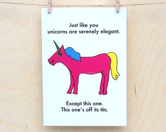 Funny Birthday card, funny card, funny Unicorn card