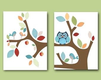 Neutral Nursery Canvas Art for Children Kids Wall Art Baby Room Decor Baby Nursery Print set of 2 Print Baby Nursery Decor Owl Kids Room /