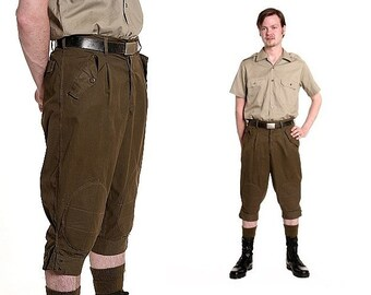 Vintage Italian army knicker climbing pants shorts trousers military olive mountain cargo combat