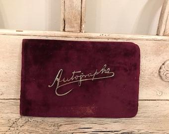 Antique Autograph Book from 1885 - Velvet Vintage Autograph Book