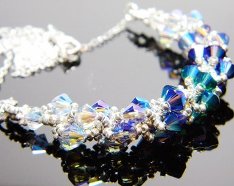 """Queen Mab Inspired Swarovski Crystal Necklace Beadweaving Sterling Silver -  """"Queen of Air and Darkness"""""""