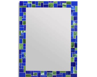 Mosaic Tile Wall Mirror for Blue Home Décor Scheme – 4 Rectangle Mirror Sizes Available