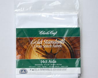 "Aida Cloth DMC CHARLES CRAFT Cotton  14 ct White 12"" x 18"" - cross stitch fabric, aida cloth, craft, supply, supplies, stitching"