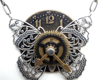 Butterfly Necklace - Steampunk Butterfly Pendant - Butterfly Pendant - Insect Jewelry - Unique Steampunk Clock Pendant - Bug Jewelry