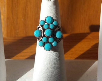 1970's Blue Stone Adjustable Ring