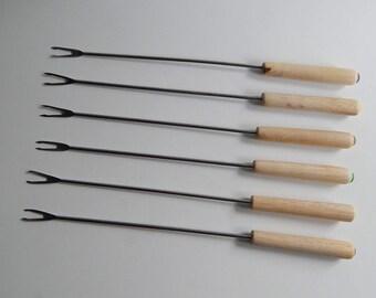 6 Wood Handle Metal Fondue Forks Purple Green Yellow Tab Ends