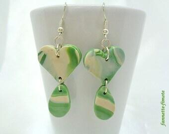 "Earrings (x 1) polymer clay ""Heart + water drop"" khaki and Beige - handmade"