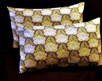 Pair of Pillow Covers 12 x 20 Gray Lotus by Lilikins Baby + Home