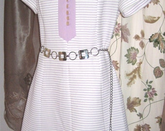 60s Plus Size Dress White and Lavender Striped Polyester - Vintage