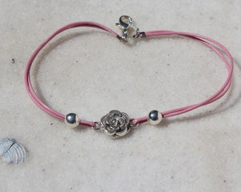 Flower Anklet With Leather Cord