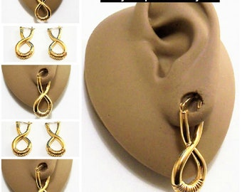 Monet Crossed Band Hoop Pierced Stud Earrings Gold Tone Vintage Spring Wire Accent Thick Rib Open Long Dangles