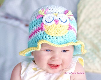 CROCHET HAT PATTERN - Fun in the sun! Baby hat pattern Baby Owl Hat Pattern Crochet Owl Hat Pattern cotton hat pattern Easy Baby owl hat Uk