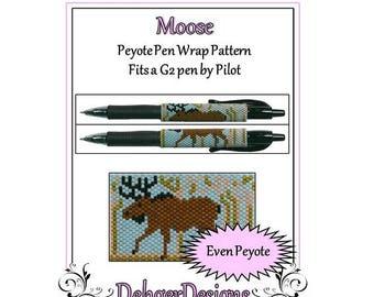 Peyote Beading Pattern (Pen Wrap/Cover)-Moose