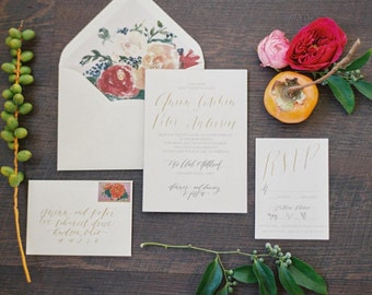 Preppy Bold Floral Invitation Suite Printed on Ecru Cotton Paper with Calligraphy Overlay