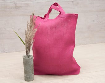 Linen Tote Bag, Linen Shopping Bag Pink, Linen Market Bag, LovelinStore