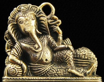 Lord Ganesh Reclining Solid Brass Charm
