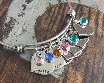 Personalized Heart Charm Bangle Grandma Bangle Grandchild Bracelet Handstamped Jewelry Mom Charm Bracelet Grandma Gift Mothers Day Gift