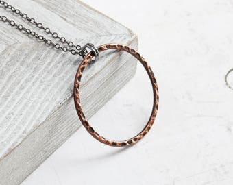 Copper Circle Necklace, Antiqued Copper Loop on Gunmetal Black Chain, Large Circle Pendant, Geometric Jewelry