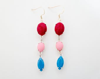 SALE Raspberry Pink and Blue Dangle Earrings