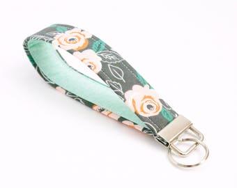 Gray Floral Key Fob - Peach and Mint - 5 Inch Key Ring - Key Chain - Cute Wristlet Loop - Short Lanyard Strap - Keychain - Housewarming Gift