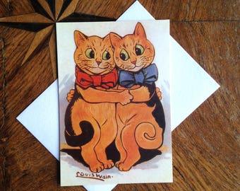 The Cuddle.  Lovely Louis Wain Vintage Illustration of Two Cats. Perfect for a Valentine or Anniversary Card.