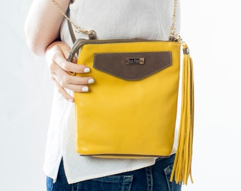 Small Yellow Leather Crossbody, Yellow Leather Shoulder Bag, Boho Bag, Festival Bag, Summer Bag, Yellow Leather Mini Backpack