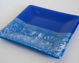 Hand Stamped Fused Glass Plate
