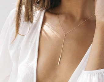 SHAY Lariat Necklace • 25x2mm Hammered Bar Lariat Necklace • Delicate Necklace, Layering Necklace, Chain Drop Necklace, Skinny Bar Necklace