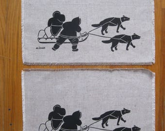 INUIT Eskimo Art Placemats, ALiKNAK Screen Printed Placemats, Set of Two, Arctic Art, Inuit Textiles, Artic Scenes, Collectables, Vintage