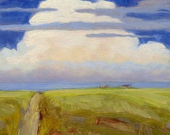 Cumulous cloud rises over springtime road leading home in central Montana in this small oil painting