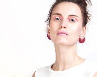 Retro Earrings, Large Stud Earrings, Hot Pink Fuschia Post Earrings, 80's style  Earrings, Plexiglass Jewelry, Vintage Style Disco Earrings