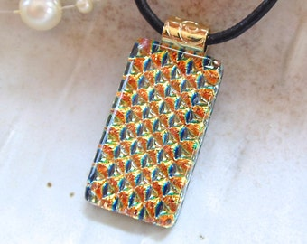 Gold Necklace, Dichroic Pendant, Fused Glass Jewelry, Necklace Included, A6