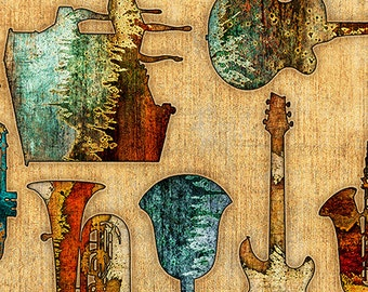 Music Instrument Fabric - Allover Textured, Encore by Dan Morris for Quilting Treasures  - 27015 A Tan - Priced by 1/2 yard