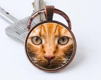 Red cat keychain Pet keyring Cat jewelry Kitten pendant Pet jewelry Cat key chain Cat lover gift Kitten keychain Animal key ring Animal gift