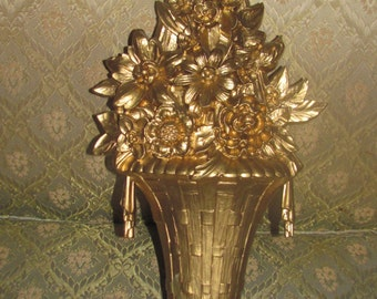 On Hold REDUCED Vtg 1964 Ornate Gold Flowers Ribbon Bow Tassel Floral Vase Syroco Wall Decor Plaque, Hollywood Regency