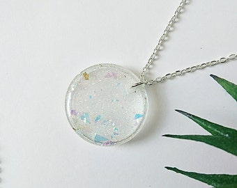 Sample Sale // Unicorn Tears Necklace // Handmade Mixed Holographic Glitter Sparkle Resin Pendant // Silver Plated Chain