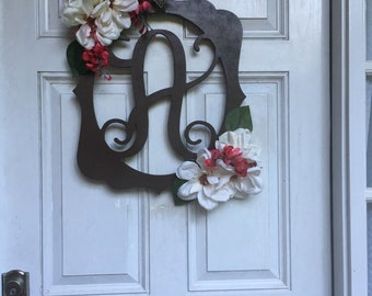 Hand painted monogrammed door hanging, with or with florals.