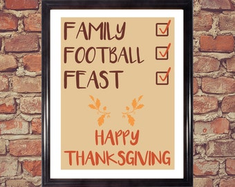 Turkey, Football, Family, Feast, Happy Thanksgiving, Thanksgiving art, Holiday decoration, Digital artwork, Printable art, home decor