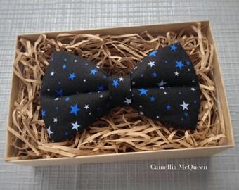 Men's bow tie, boy's bow tie, blue stars on black bow tie