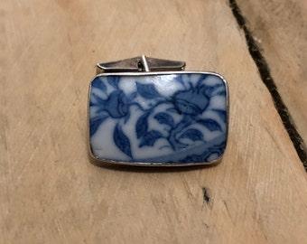 porcelain cufflink set in Sterling silver
