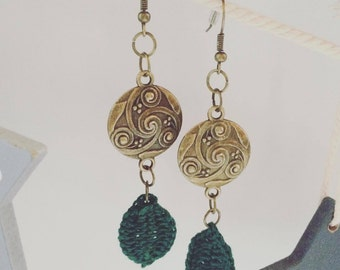 Antique Brass Earrings with Tribal Celtic Disk Charms and Handmade Crocheted Forest Green Colour Leaf Appliques